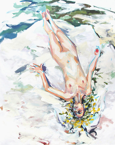 Painting of blonde woman lying naked on a patch of ice on water