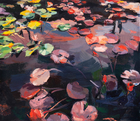 Impressionistic painting of red and yellow waterlilies on dark water