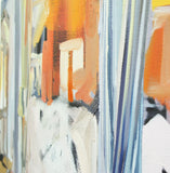 Second detail of colorful painting of a living room in front of the sunny window of broad brushstrokes