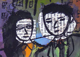 Detail of a print of two parents with newspaper clipping under head drawing