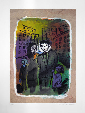 Print of two parents center and two children on the outside on the street of a colorful drawing of a city background
