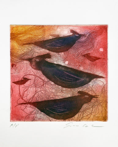 Print of stylized dark birds in red and orange background