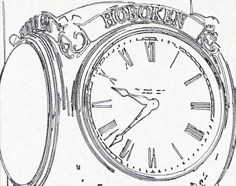 Black and white illustration of embossed close-up of a street clock reading 9:38 with Hoboken over clock face
