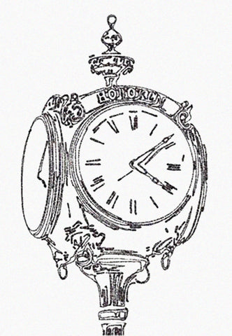 Black and white illustration of embossed street clock with Hoboken over clock face