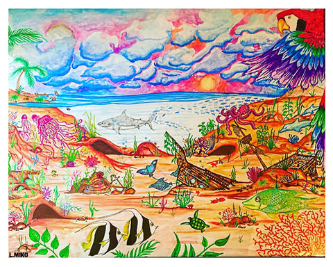 Vivid print of sealife under the water and land and sky above
