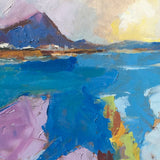 Detail of abstract impressionistic painting of water and mountain in blues