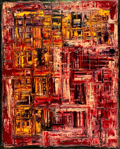 Abstract expressionist painting with vertical and horizontal brushstrokes in yellows, oranges, and reds on dark background