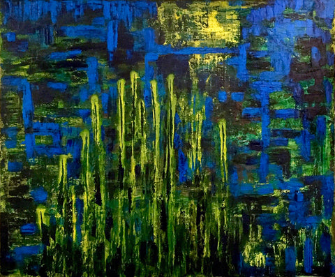 Abstract expressionist painting with horizontal and verticle yellow and blue broad brushstrokes