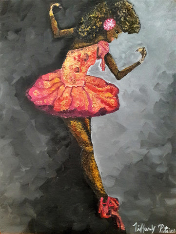 Painting of female ballerina in pink-orange outfit on gray background