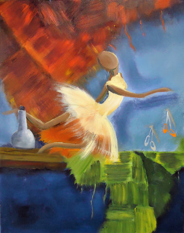 Painting of stylized faceless female figure in abstract setting wearing a light gold tutu