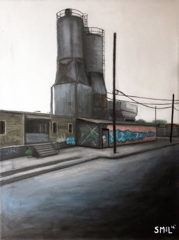 Painting of desolate street scene with silo behind one-story factory buildings