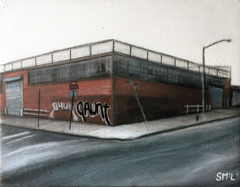 "Painting of desolate street scene of corner with one-story brick building with graffiti reading ""gaunt"""