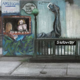 Detail of painting of desolate street scene with subway entrance stairs in front of building with mural of arm raised