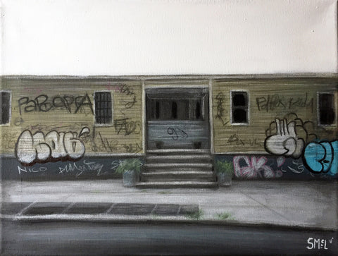 Painting of desolate street scene of one-story bulding with centered entrance and graffiti