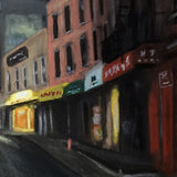 Detail of painting of desolate evening street scene of Chinatown