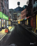Painting of desolate evening street scene of Chinatown