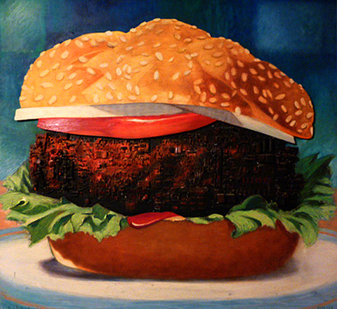 Print of realist painting of a hamburger up close