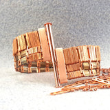 Wide copper bracelet unclasped