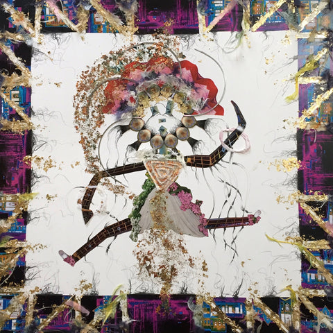 Mixed media illustration of fantastical dancing woman made of different papers and drawing on white background and integrated mat