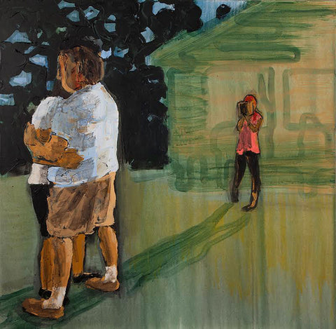 Contemporary painting of a woman looking from the background to two people hugging in the foreground