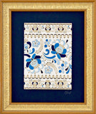 Blue floral painting with gold embossing outline on white background in frame