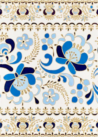 Blue floral painting with gold embossing outline on white background