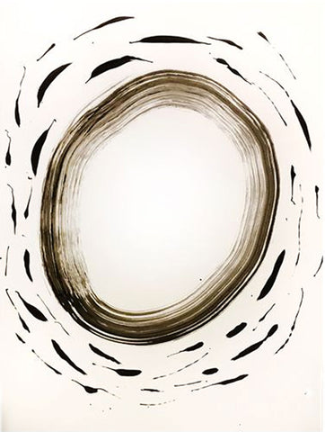 Abstract circle painted black—loosely with painted dashes around it on white background