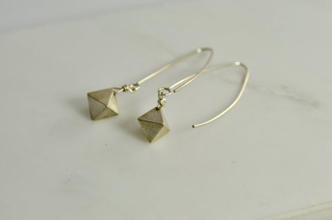 Photo of dipyramid silver earrings