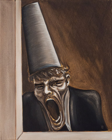 open mouthed man with tall hat painting