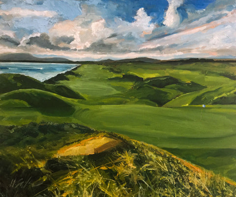Painting of a landscape with an emply green golf course with dramatic clouds