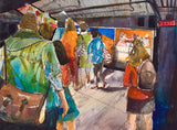 Colorful watercolor painting of a woman looking as commuters walk past in the Hoboken PATH terminal