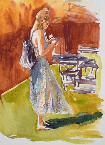 Colorful watercolor painting in warm colors of a woman with purse looking down at her mobile phone in a room