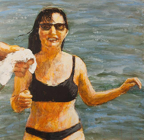 Painting of a woman upper body showing in black bikini with sunglasses emerging from water being handed a towel