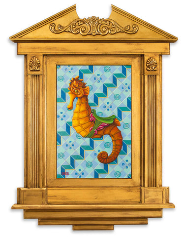 Orange sea horse on blue geometric pattern in ornated gold frame