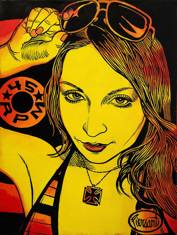 Portrait of a young woman done in primarily yellow paint holding sunglasses up on her head with 45 RPM in the background of this Pop Art painting