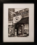 Black and white painting of the Black Bear bar in Hoboken, New Jersey framed