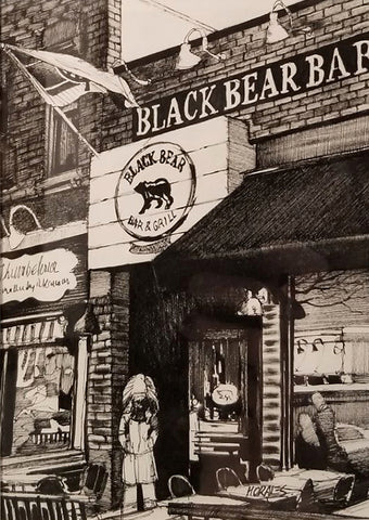 Black and white painting of the Black Bear bar in Hoboken, New Jersey