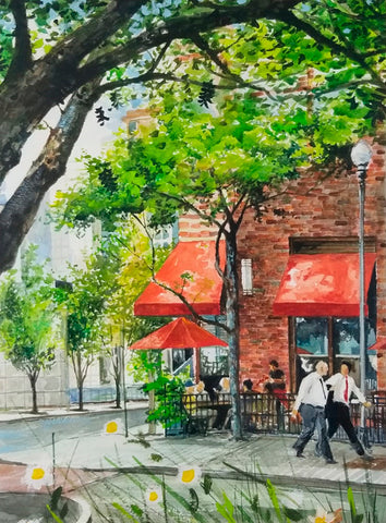 Watercolor painting of corner street scene in Hoboken, New Jersey