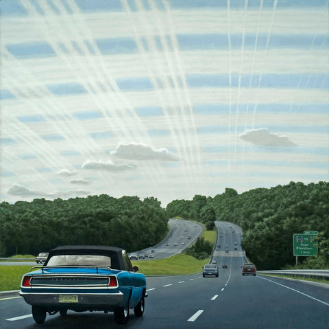 Painting of an old blue sedan driving away on the highway under a vast cloud-striped sky