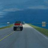 Detain of painting of landscape with truck driving down road toward dark clouds off in the horizon