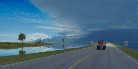 Painting of landscape with truck driving down road toward dark clouds off in the horizon