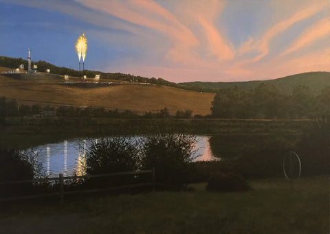 Realist painting of a fracking facility in the distance with a natural pond in the foreground
