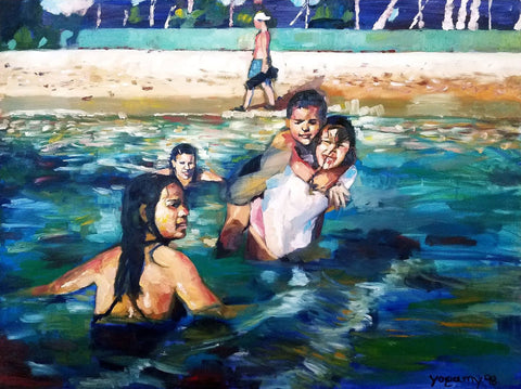 Painting of children playing in water at beach