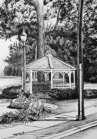 Black and white pen and ink drawing of a gazebo in a park near a sidewalk