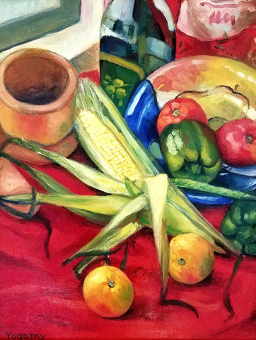 Painting of an assortment of vegetables and fruit on a table with red cloth