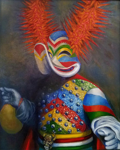 Painting of the upper torso of a colorfully dressed masked doll