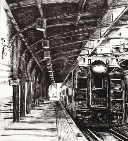 Black and white ink drawing of a train facing forward in station interior with platform