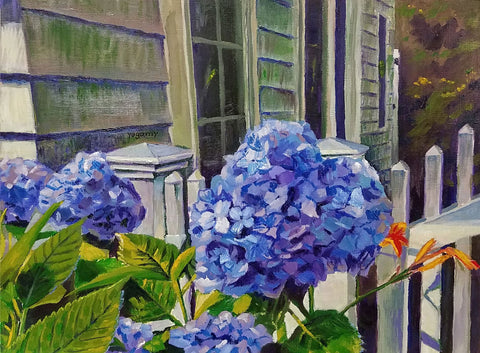 Painting of blue hydrangeas in front of house and white picket fence