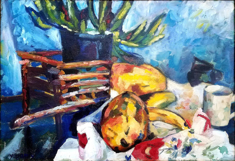 Painting of a still life of various yellow fruit on a white cloth with a mug and potted plant against a blue wall