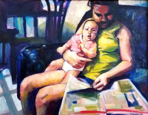 Painting of a woman with yellow shirt on a couch reading a paper while holding an infant